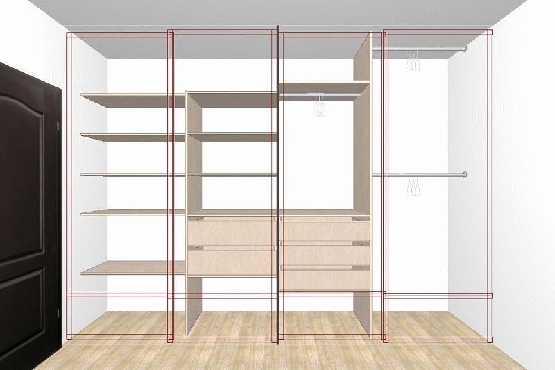 Объемный проект шкафа купе с размещением в определенном интерьере и техническим распределением внутреннего пространства