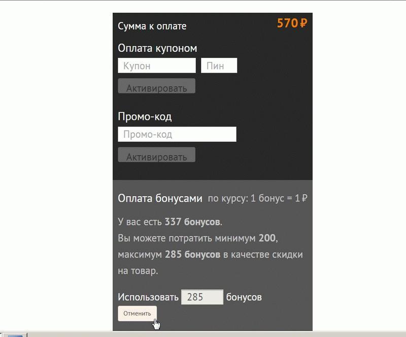 Использование накопленных баллов для оплаты покупки в Ситилинк