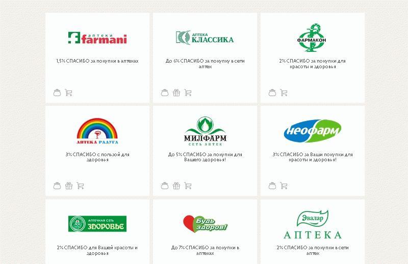 в список партнеров Сбербанка входят многие аптечные сети страны