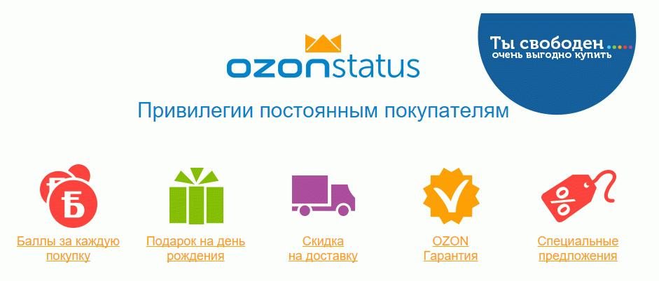 Перечень плюсов программы Ozon Status