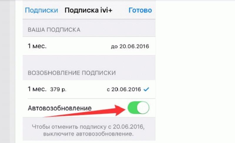 отключение платных услуг на устройствах iOS