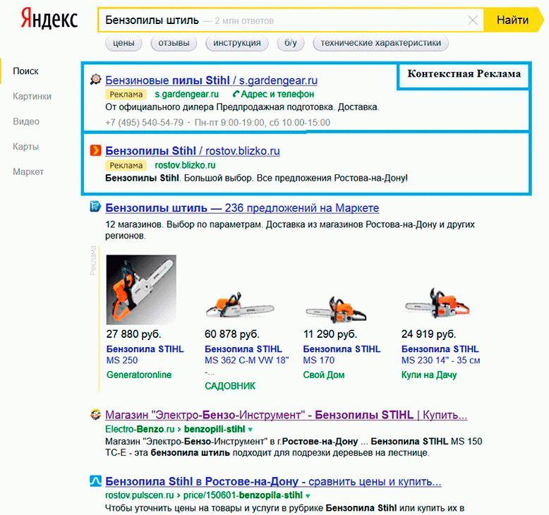 Образец контекстной рекламы на Яндекс.Директ