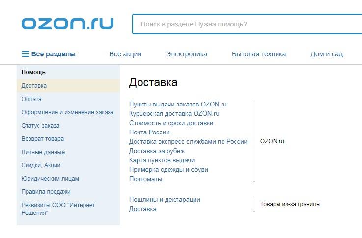 Условия доставки на Озон.ру